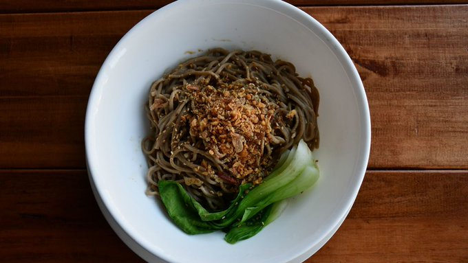 This month, Jade Mountain Coffee and Tea introduced the sesame noodle bowl made with buckwheat noodles, a house-made white sesame sauce, crunchy garlic and steamed bok choy. Happy #MeatlessMonday! Photo