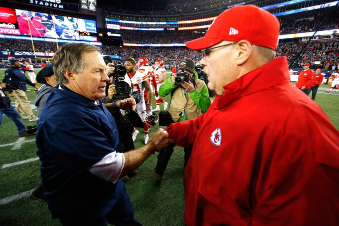 He's a friend, plus he's a phenomenal football coach. Andy Reid is looking forward to another matchup against Bill Belichick: #EverythingWeGot #ChiefsKingdom Foto