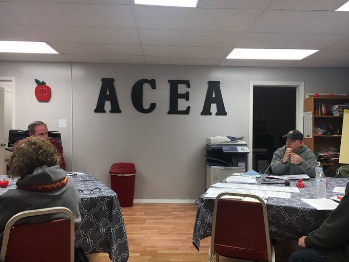 Thrilled to visit ACEA President Kim Sloane & Board of Directors in Allegany Co. They held their mtg on a snow day and are working to build turn out for @MSEAeducators March for our Schools March 11. We are in red today supporting #UTLAStrong Photo