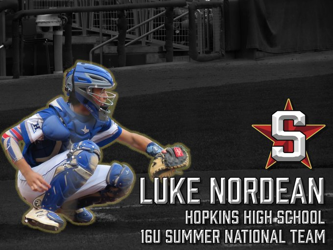 Another 16U is on the Nordean (2021 C/OF)@LukeNordean has committed to @StartersSportsT 16U National Team. This Hopkins backstop will be sticking pitches & hosing runners this summer? More to Photo