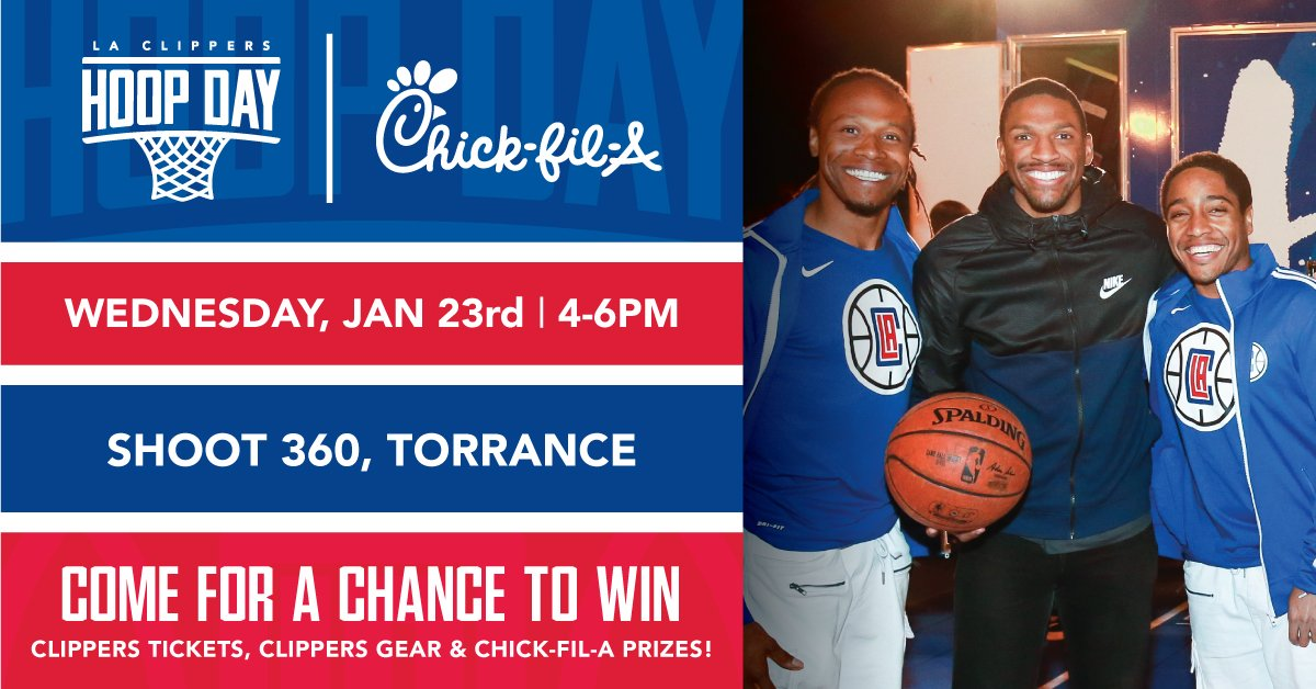 Thousand Oaks, our next Hoop Day is coming your way!  Stop by Shoot 360 on Jan. 23 to scoop up some free Clippers merch, @ChickfilA prizes, and a chance to win tickets to an upcoming game.