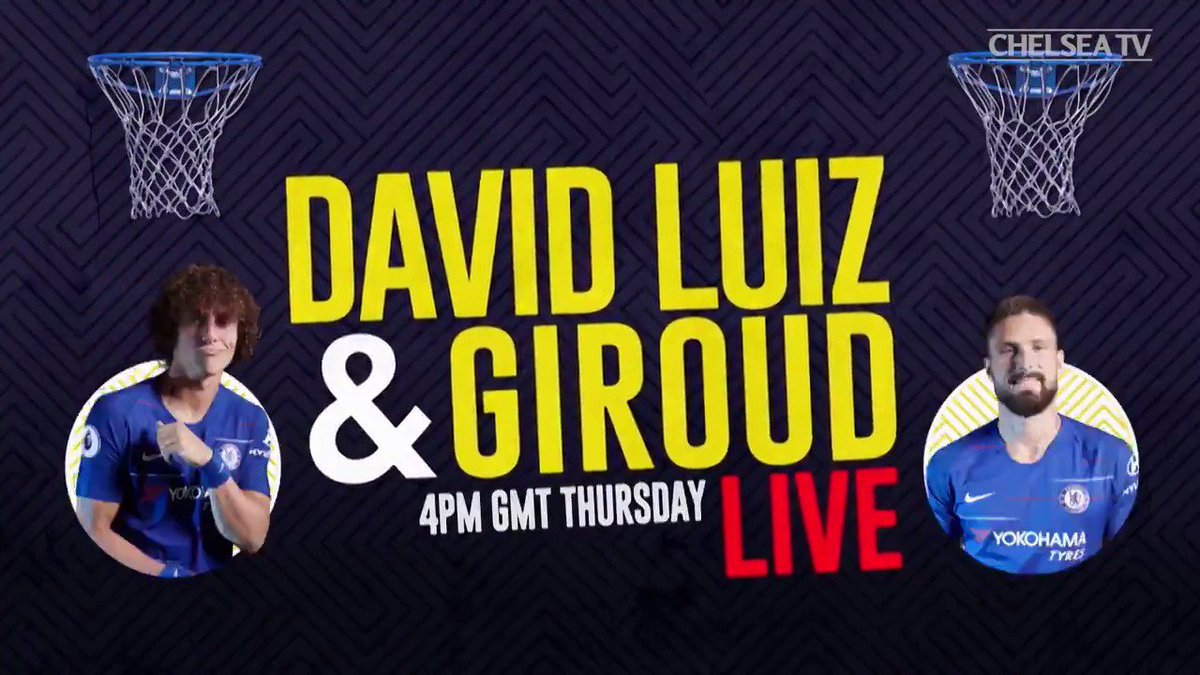 4pm, today, don't miss it! 👊  Watch our live show with  @DavidLuiz_4 and @_OlivierGiroud_, only in the official Chelsea app!  📲 http://che.lc/LuizGiroud