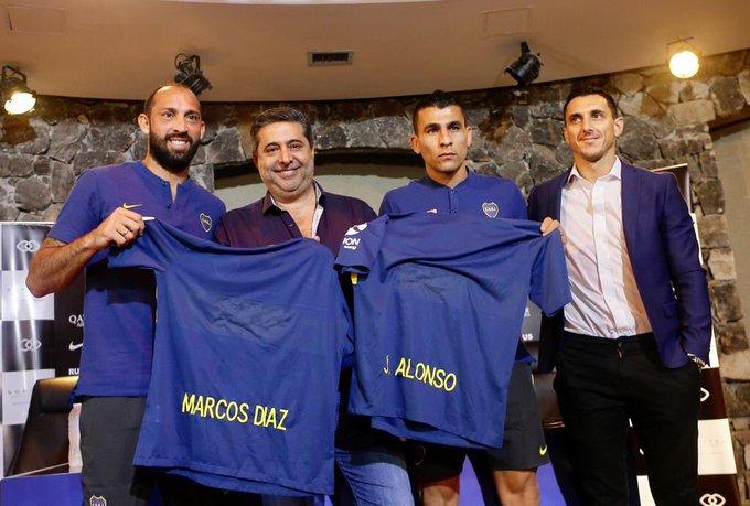 Marcos Díaz y Junior Alonso, los dos primeros fichajes de Boca. Poca ilusión generan, después de la tristeza más grande en la historia de Boca. La final de la Libertadores 2018 :( Foto