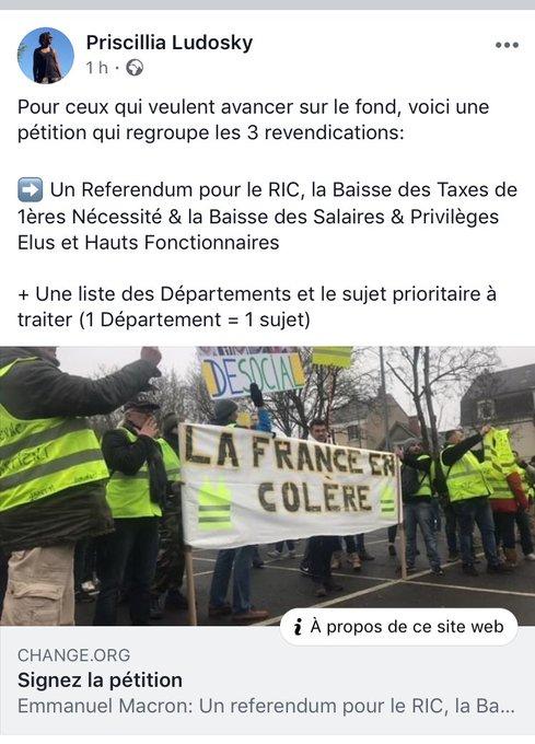 Priscillia Ludosky, qui a réuni plus de signatures sur sa première pétition contre la hausse du carburant, lance désormais une pétition pour les trois revendications du groupe 'la France en colère' (sans !!!). #GiletsJaunes Photo
