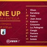 🕗 Ecco la nostra formazione per #RomaEntella 💪©️ Oggi @D_10Perotti partirà per la prima volta da capitano in una partita ufficiale con l'#ASRoma#TIMCup