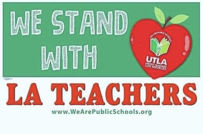 We stand with our sisters and brothers from @UTLAnow as they fight for their students and schools. #UTLAstrong #RedForEd Photo