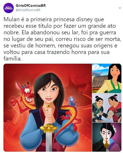 Qual vcs acham a melhor princesa da Disney e pq é a Mulan? Via @GirlsOfComicsBR Foto