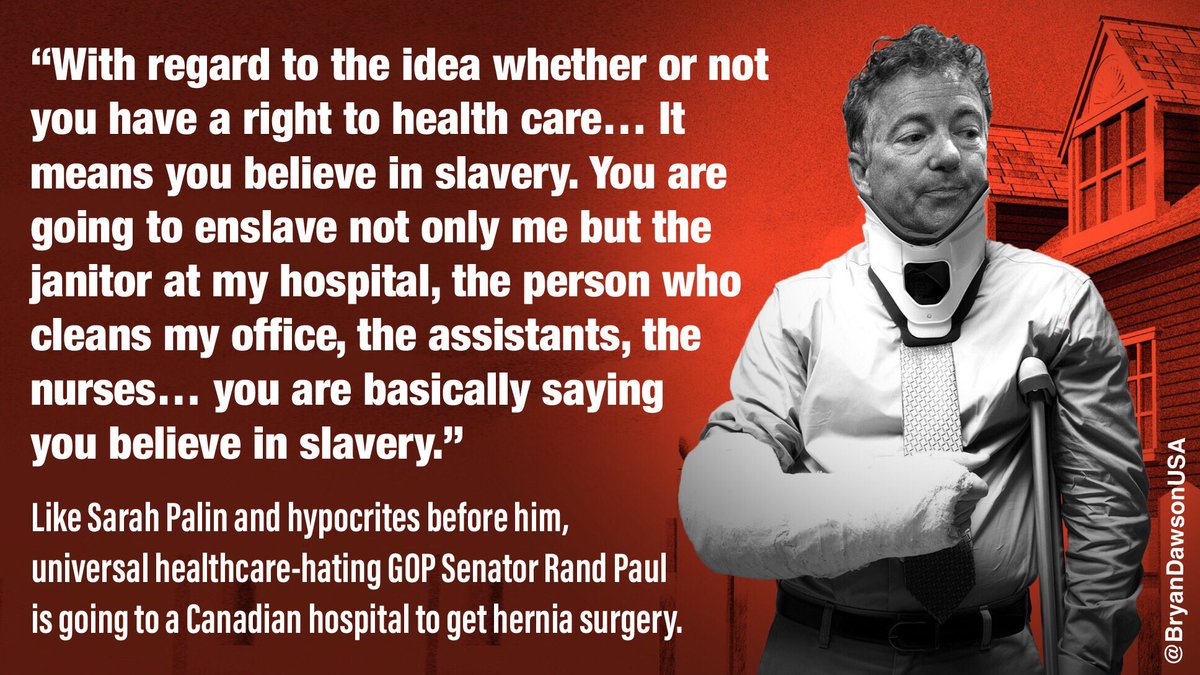 ‪Like Sarah Palin and hypocrites before him, #singlepayer-hating GOP Senator Rand Paul is going to Canada to get hernia surgery.‬  ‪https://www.courier-journal.com/story/news/politics/2019/01/14/rand-paul-neighbor-attack-senator-have-surgery-canada/2568200002/‬