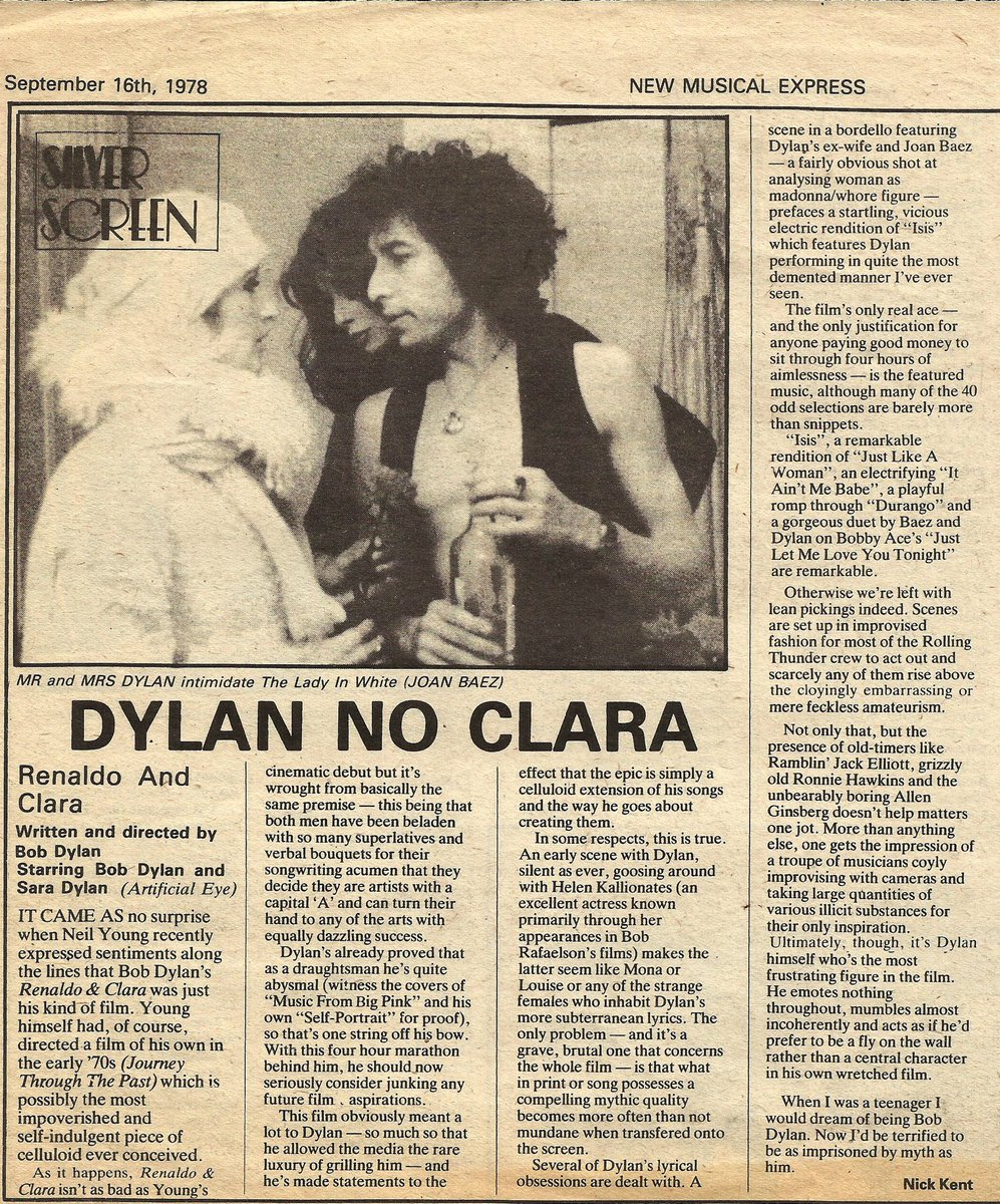 Scathing review of Renaldo and Clara from the New Musical Express 16th September 1978 #BobDylan <br>http://pic.twitter.com/ercYSxMhrK
