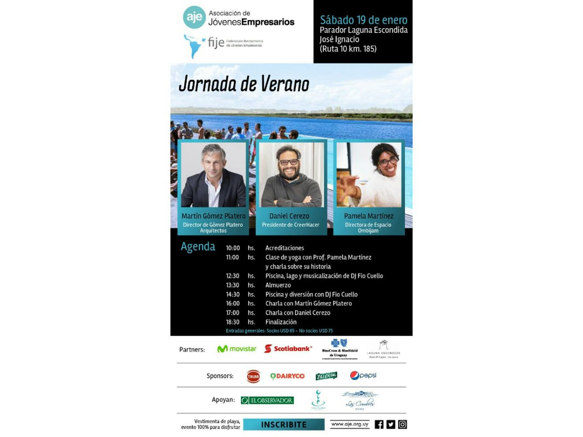 Este sábado 19/1 llega la Jornada de Verano en Laguna Escondida organizada por @AJEUruguay para conocer jóvenes empresarios y emprendedores de la región, relajarse y divertirse. Inscripción en: https://bit.ly/2AIWT8U (CON BENEFICIO PARA SOCIOS RED FIJE).  #FIJE #UNAJE