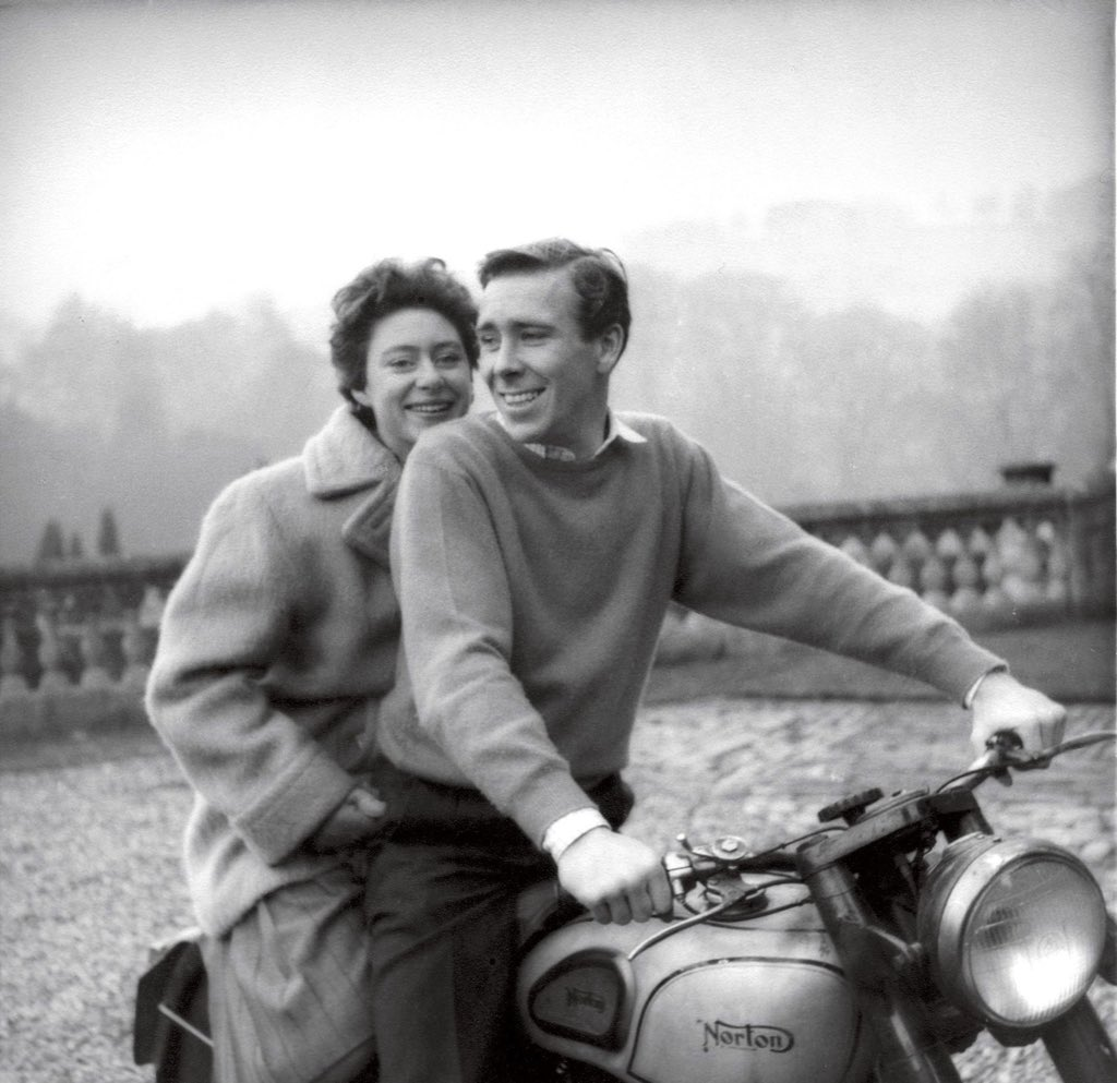 Princess Margaret and Lord Snowdon on their nobility scooter.