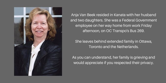 Anja Van Beek, 65, resided in Kanata alongside her husband and two daughters. She also died in the Westboro bus crash. She leaves behind family in Ottawa, Toronto and the Netherlands. #ottnews Photo