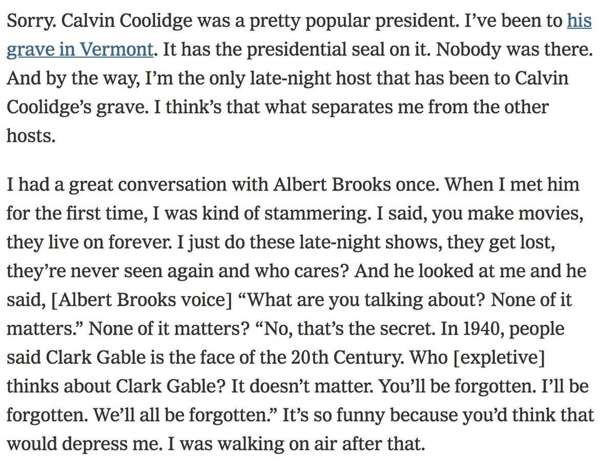Conan relaying a great Albert Brooks anecdote about the impermanence of life and the fleeting nature of fame, success and all the things we see today https://t.co/D0ERUEDrNK