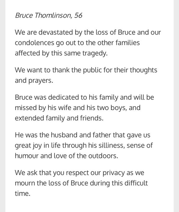 Statement have been released by families of Bruce Thomlinson, 56, Judy Booth, 57, and Anja Van Beek, 65, who were all killed in Friday's tragic bus crash in Westboro. #ottnews Photo