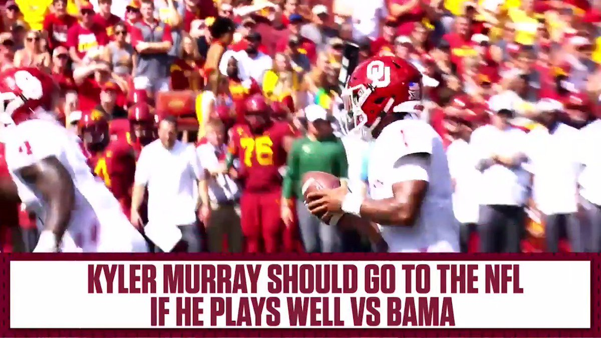 Play well against Alabama ✅ Declare for the NFL Draft ✅ @joelklatt stands with Kyler Murray's decision: