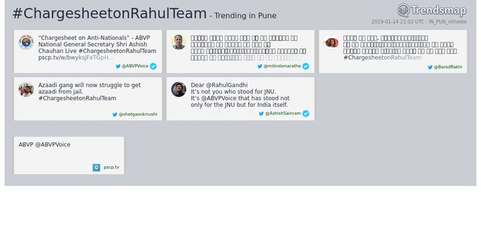#chargesheetonrahulteam is now trending in #Pune Photo