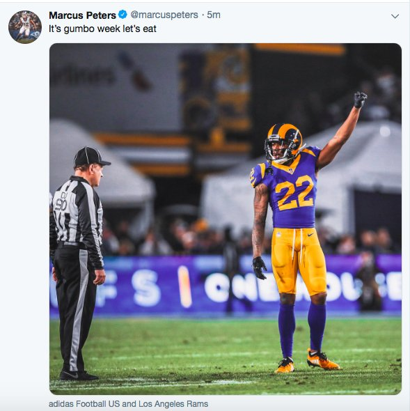 Rams CB Marcus Peters, in a since-deleted Tweet. Gumbo week. https://t.co/sCp6Msv3wL