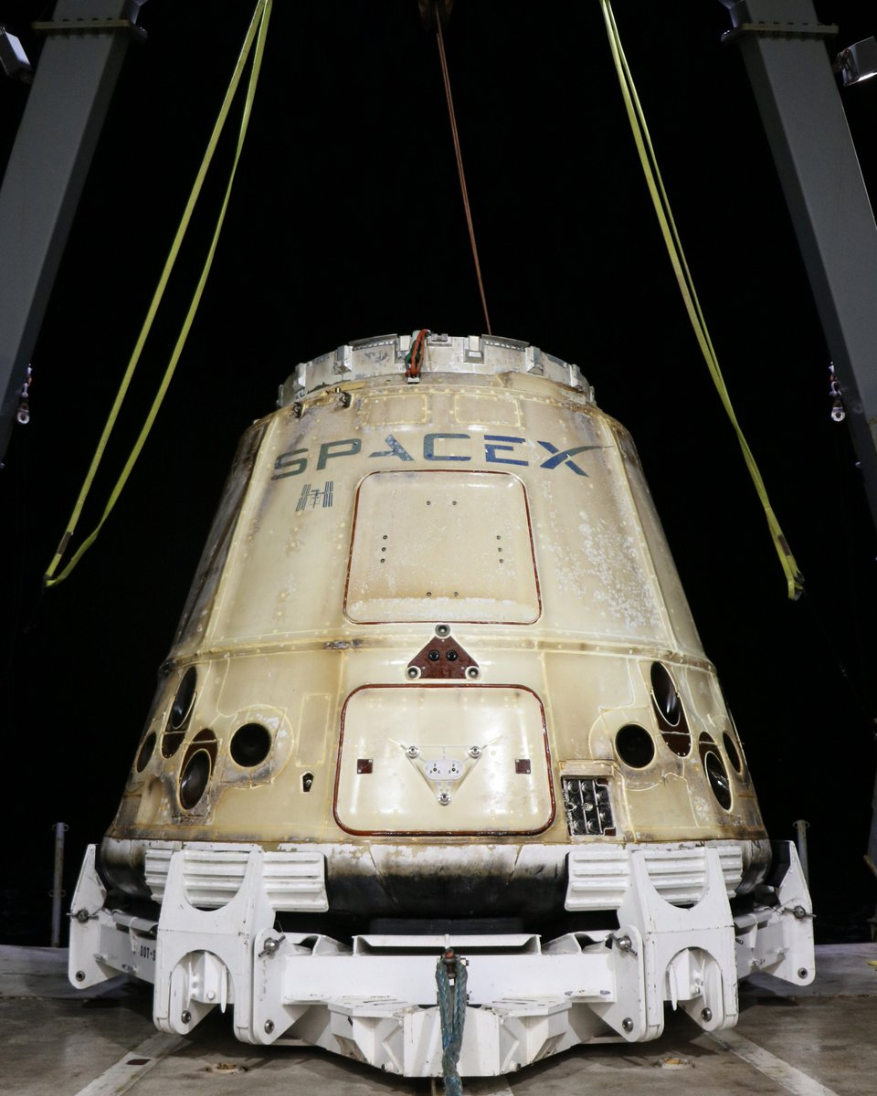 Dragon returned home last night after its five-week stay at the @Space_Station, completing SpaceX's sixteenth flight to and from the orbiting laboratory. The ISS badge signifies this Dragon's previous trip to the station in 2017.