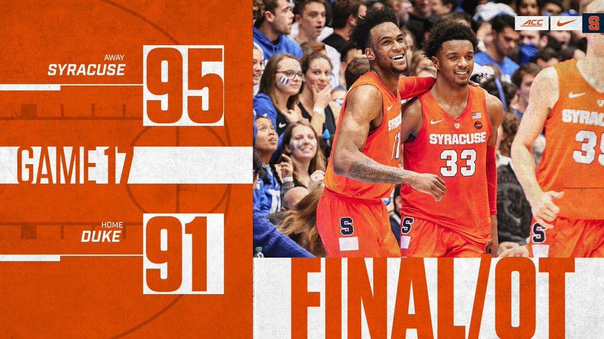 Orange Win Syracuse Upsets 1 Duke In Overtime Thriller