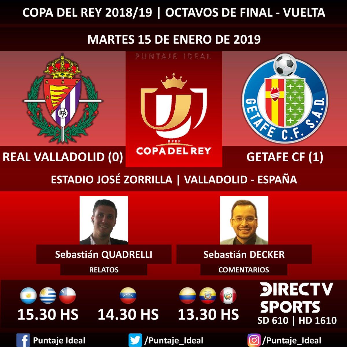 ⚽ #FútbolEnDIRECTV   #RealValladolid vs. #GetafeCF 🎙 Relatos: @SebaQuadrelli  🎙 Comentarios: @SebasDecker  📺 TV: @DIRECTVSports Sudamérica (610 - 1610 HD) - #Torneos 🤳 #SoySportista - #CopaDelRey 🇪🇸 - #RealValladolidGetafe  Dale RT 🔃