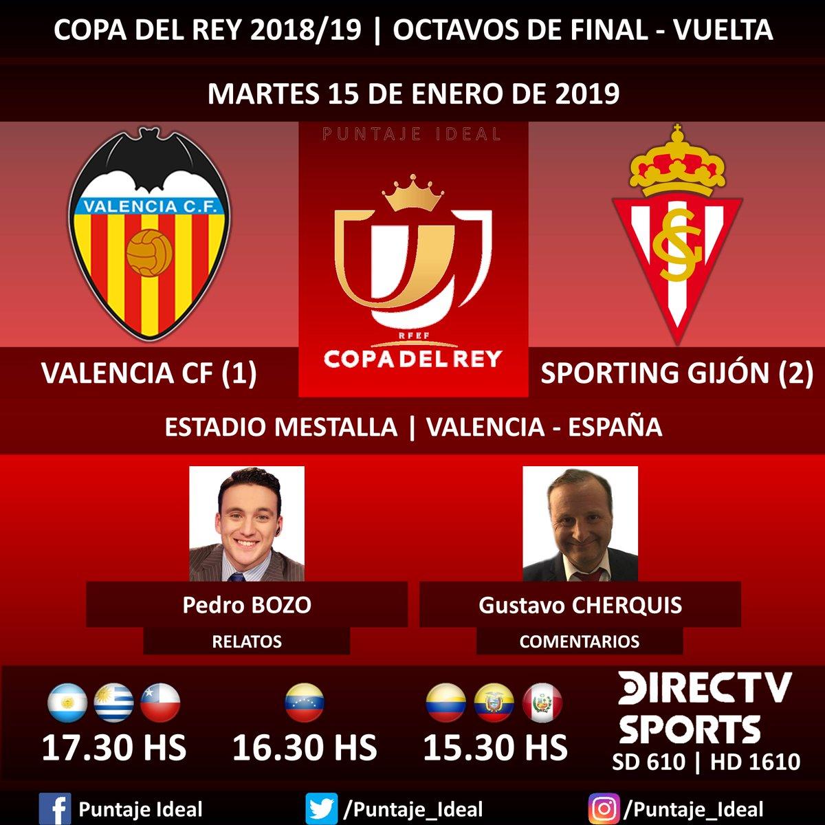 ⚽ #FútbolEnDIRECTV   #ValenciaCF vs. #SportingGijón 🎙 Relatos: @pedrobozoa  🎙 Comentarios: @Gustavo_che  📺 TV: @DIRECTVSports Sudamérica (610 - 1610 HD) - #Torneos 🤳 #SoySportista - #CopaDelRey 🇪🇸 - #ValenciaSporting  Dale RT 🔃