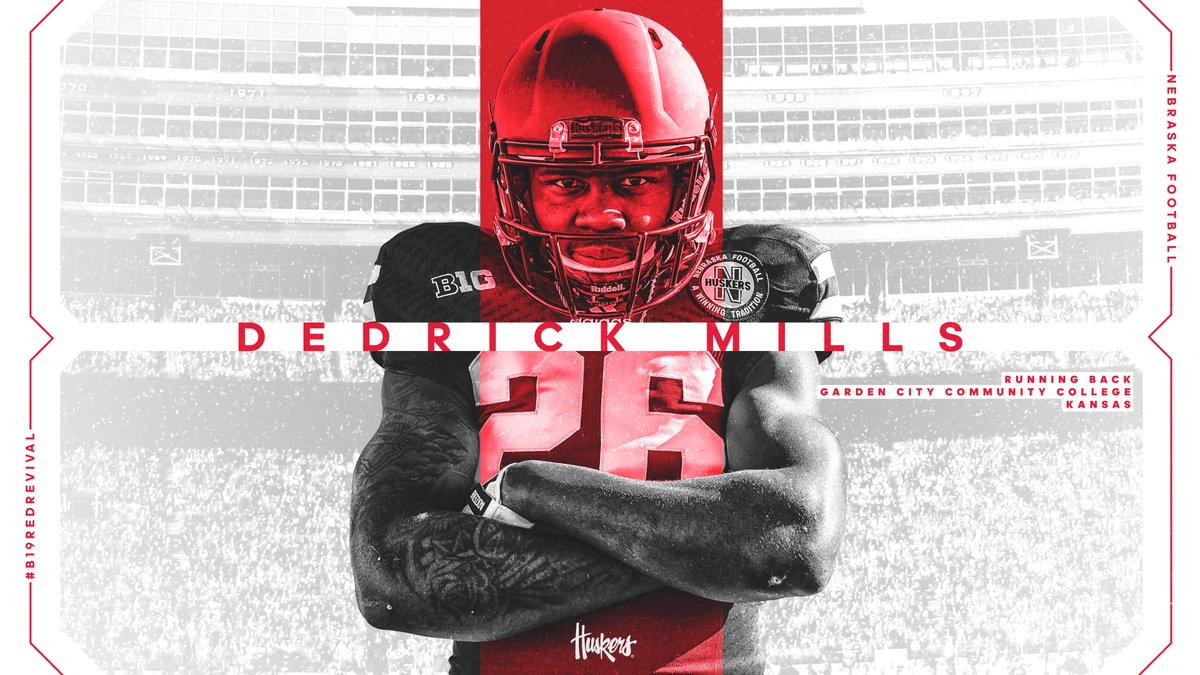 His name: Dedrick Mills (@MillsDedrick) His position: Running Back Status: HUSKER #B19RedRevival ✍️🌽💯