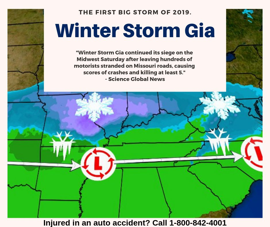 &quot;#winter storm Gia was the first storm of 2019. Take this as a warning that this winter will be a bad one! Make sure your tires have proper treading and that your car is properly maintained. Stay safe out there!   #caraccident #autoaccident #injury #personalinjury #injuryvictims<br>http://pic.twitter.com/Cxhfg046zH