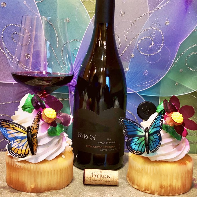 Sliding into my #MondayMotivation with another pinot noir. This one from @ByronWinery and Bien Nacido in Santa Maria Valley. Jonathan Nagy, husband of Clarissa, is the winemaker. Notes of raspberry, tomato leaf, tobacco & ripe strawberry. Cheers all. #PinkSociety @RedWineCats Photo