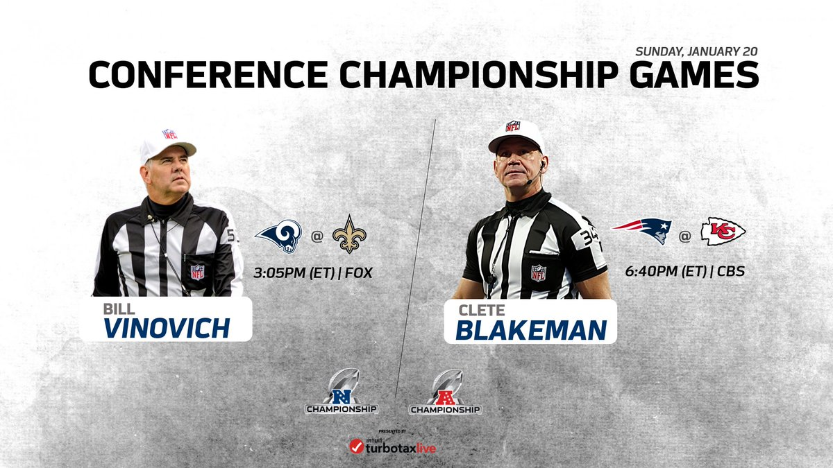 RT @NFLOfficiating: The Conference Championship Game assignments are set. #NFLPlayoffs  #LARvsNO | #NEvsKC https://t.co/xFx9z1R2L7