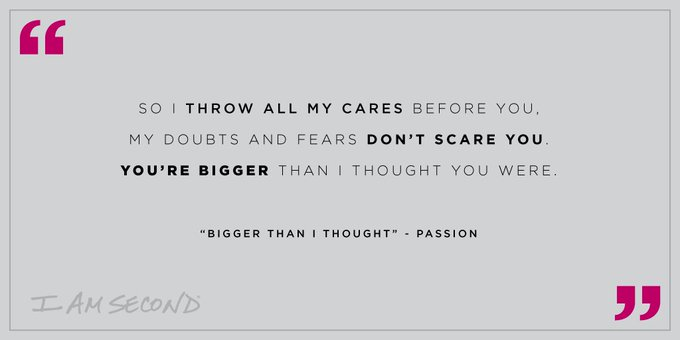 #MusicMonday // What lyrics are inspiring you? This one reminds us we can have peace because Jesus is greater than anything we face. You can listen to Bigger Than I Thought from @PassionMusic & Sean Curran on our Music Monday playlist on @Spotify: Photo