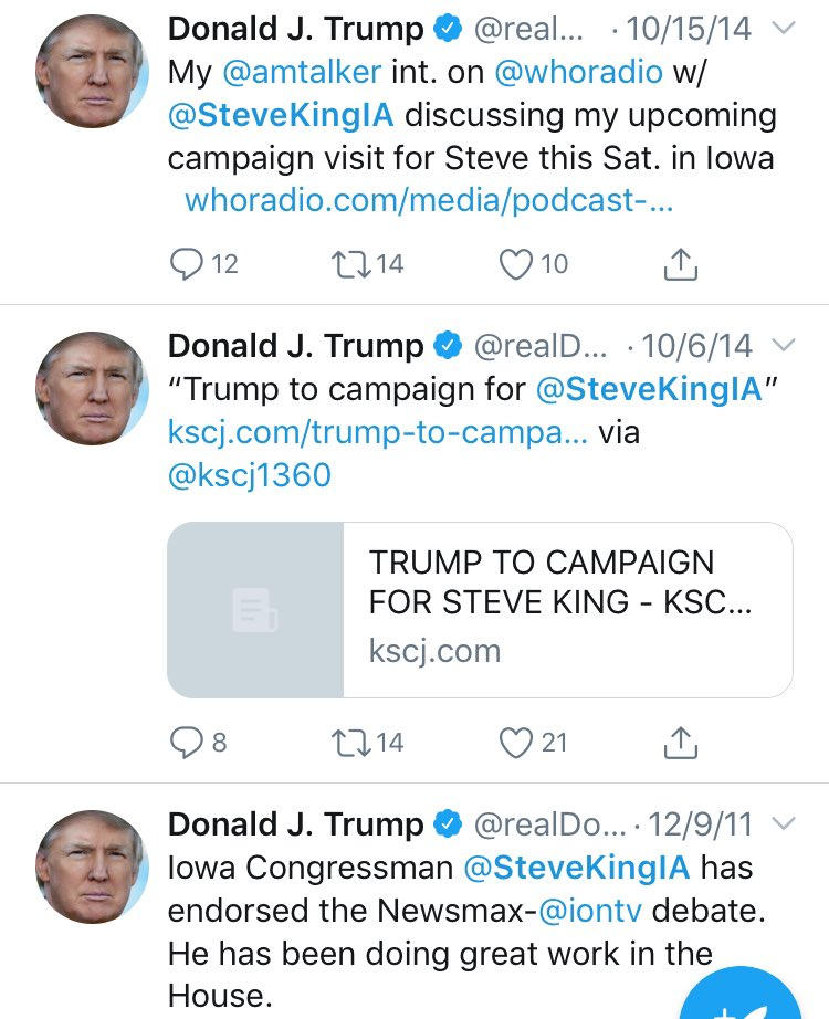 "One of racist Rep. Steve King's biggest, oldest fans. A few of the many fan messages going back to 2011: ""Very excited ..to campaign for my friend"" ""Doing great work"" ""Strong conservative leader"" ""Upcoming campaign visit"" ""A strong leader in the House"" ""I recorded robocalls..."""