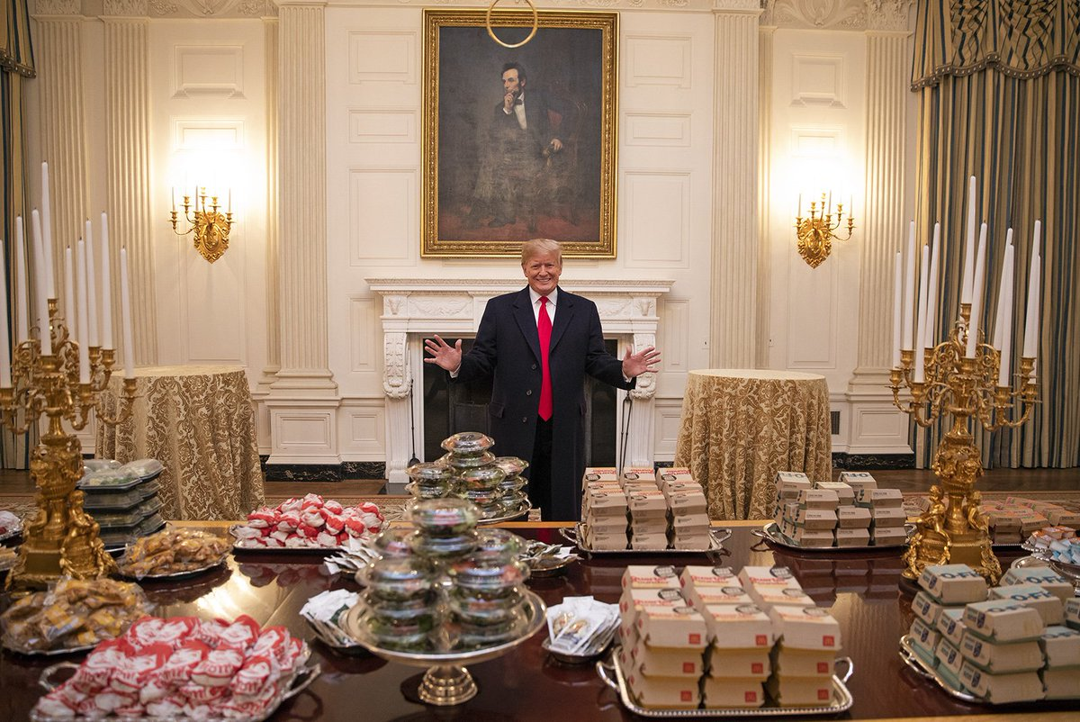 President Donald J. Trump's fast food bounty for the Clemson football team at the White House on Monday night. — Photograph: Shealah Craighead/White House.