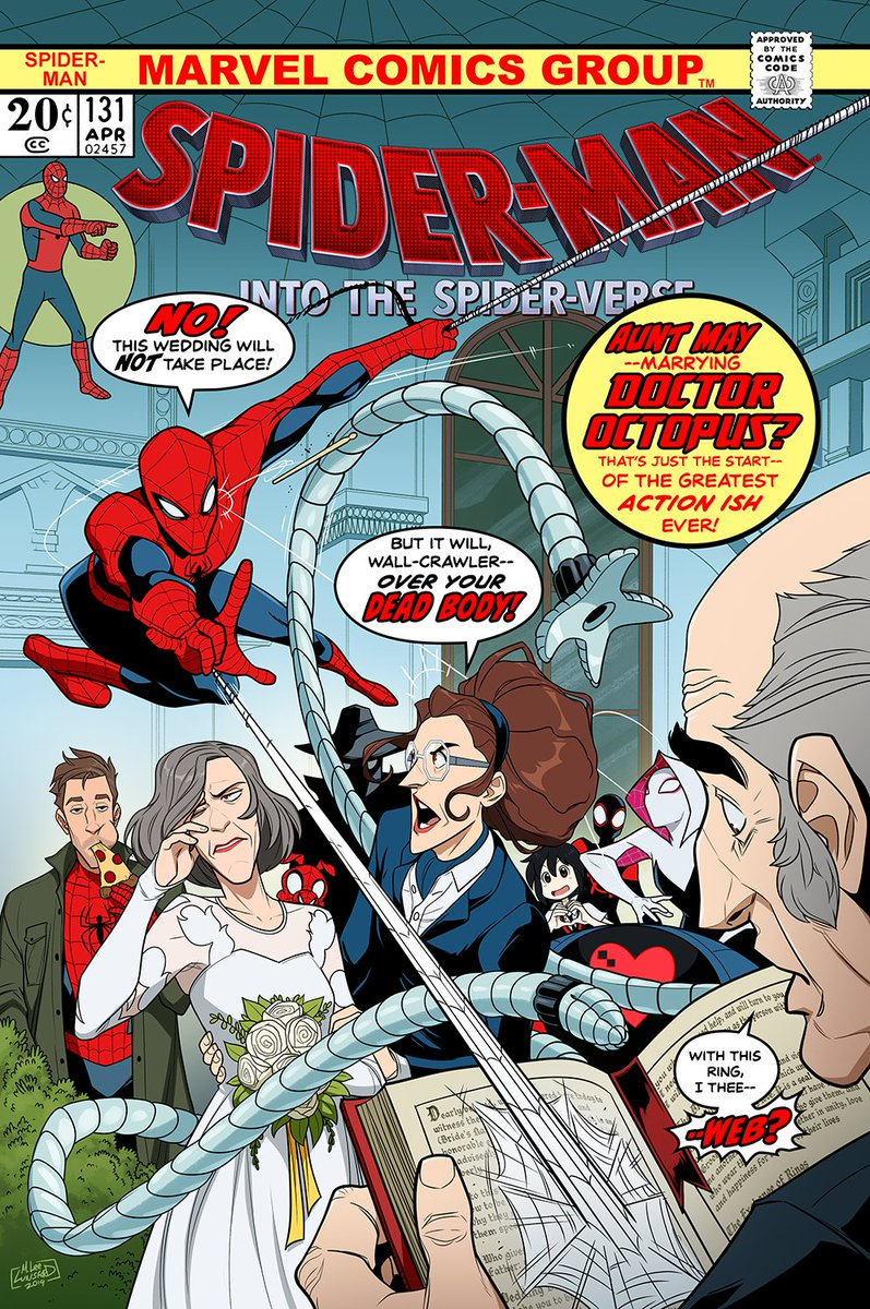 I drew a parody of an old Spider-man cover featuring characters from #SpiderVerse   Enjoy!