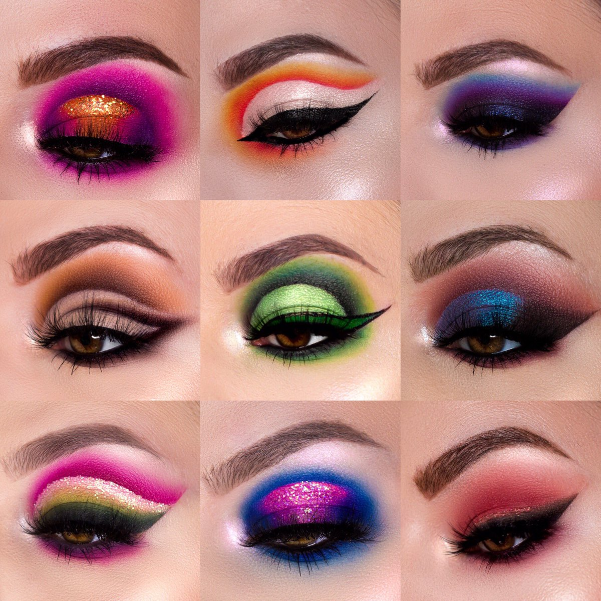 Which is your favorite?? Really proud of all of these! Palettes used: @MorpheBrushes X @jamescharles Palette @MannyMua733 #LunarBeauty Greek Goddess Palette  @ColouredRaine Vivid Pigments Palette @ABHcosmetics Sultry Palette @litcosmetics Glitters  http://Instagram.com/kaitkmua