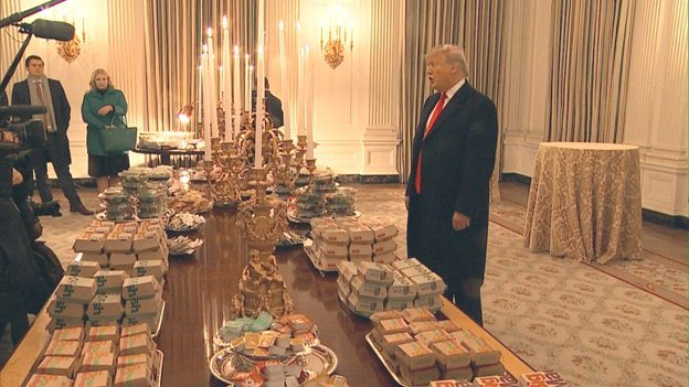 The White House staff is furloughed so he's alone serving cold fast food. This picture is worth 5.1 billion words.