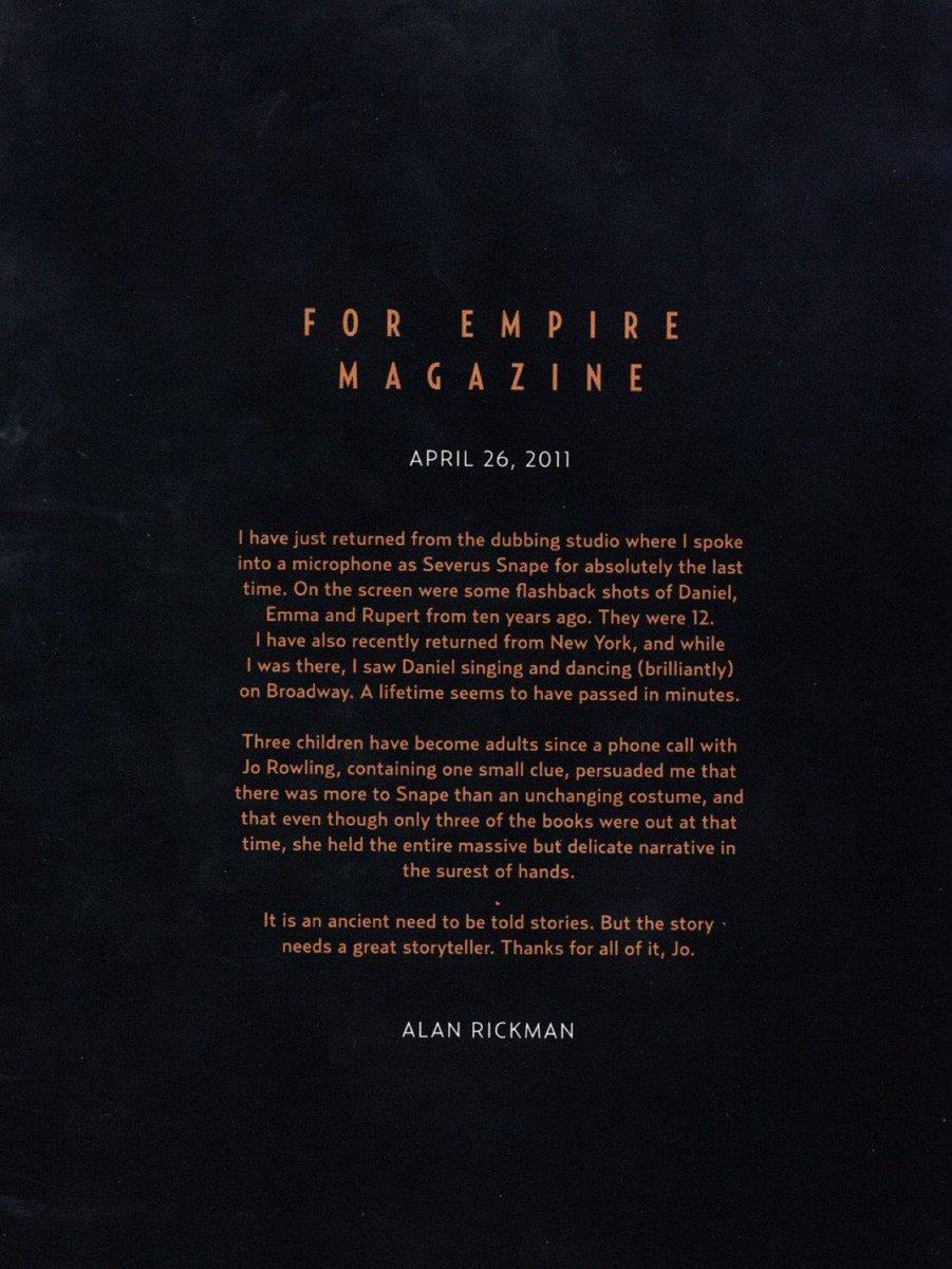 Alan Rickman's heartfelt letter reflecting on his involvement with the Harry Potter series.  #RIPAlanRickman