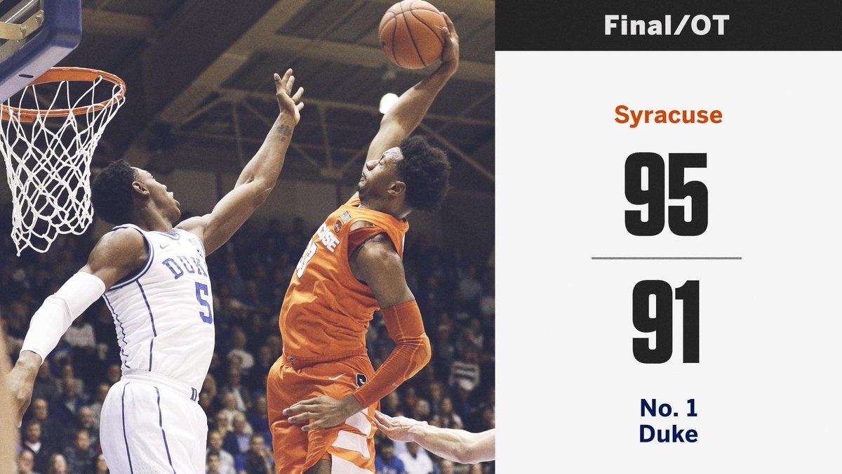 Espn On Twitter Unranked Syracuse Upsets No 1 Duke In Durham