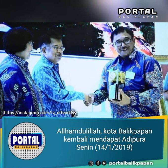 Kabar gembira diawal tahun 2019, kota Balikpapan kembali meraih penghargaan Adipura Photo
