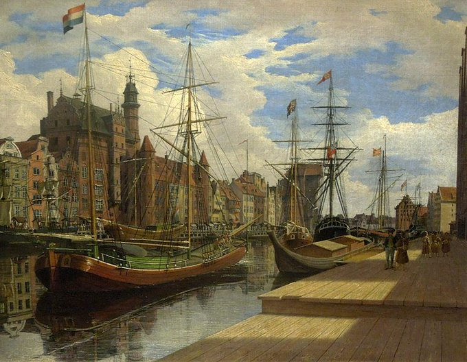 Mottlaufluß und Lange Brücke in Danzig, 1837 Johann Karl Schultz (born May 5, 1801 in Gdansk, died June 12, 1873 in Gdansk) was a German painter. Foto