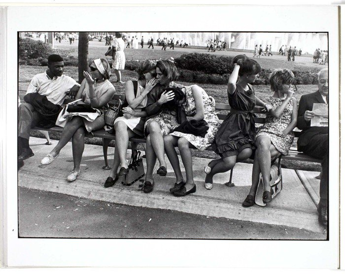 """Happy birthday to Garry Winogrand, street photography extraordinaire and master of the 35-millimeter camera. He photographed, he said, """"to see what the world looks like in photographs."""" 📷Histrionics on Bench, 1975 #ICPCollections https://bit.ly/2DaWf6H"""