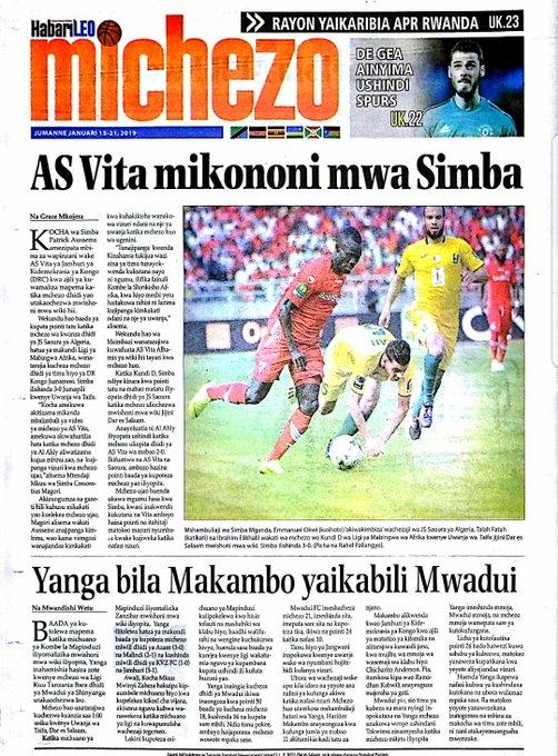 AS Vita mikononi mwa Simba| Yanga bila Makambo yaikabili Mwadui| De Gea ainyima ushindi Spurs| Rayon yaikaribia APR Rwanda- HabariLEO Photo