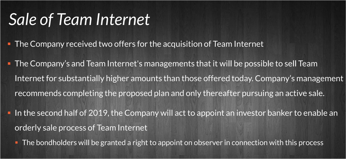 #MTMY The Company's and Team Internet's managements that it will be possible to sell Team Internet for #substantially #higher #amounts than those offered today.