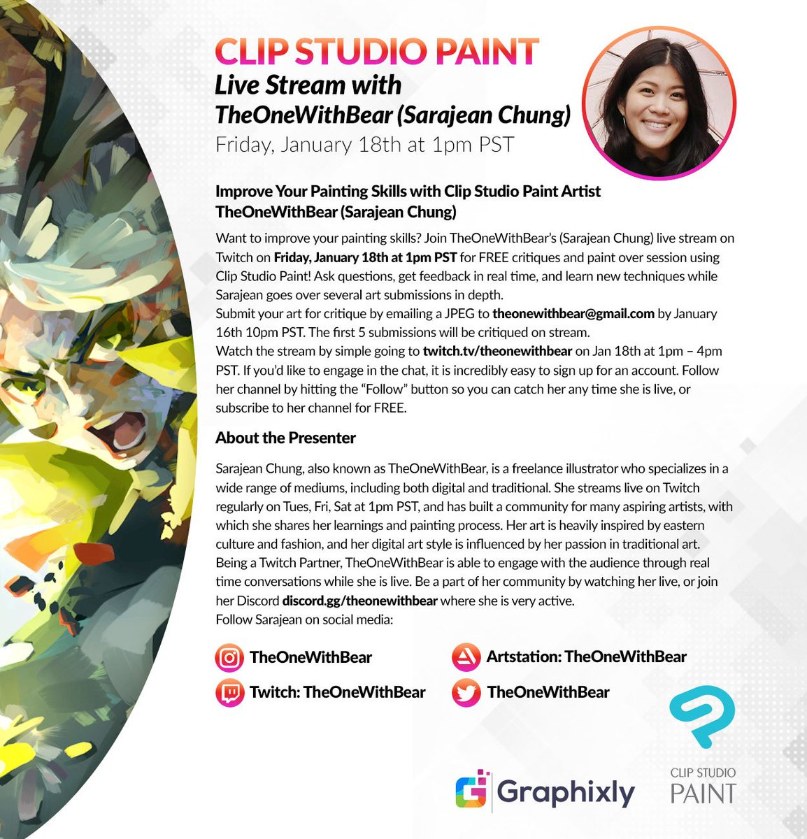 Submit your art for critique and improve your painting skills with Sarajean Chung on her Twitch Live Stream. Watch the stream on Friday, January 18th at 1pm PST. http://twitch.tv/theonewithbear   Learn more here: http://bit.ly/2FyJIuq  @graphixly @TheOneWithBear
