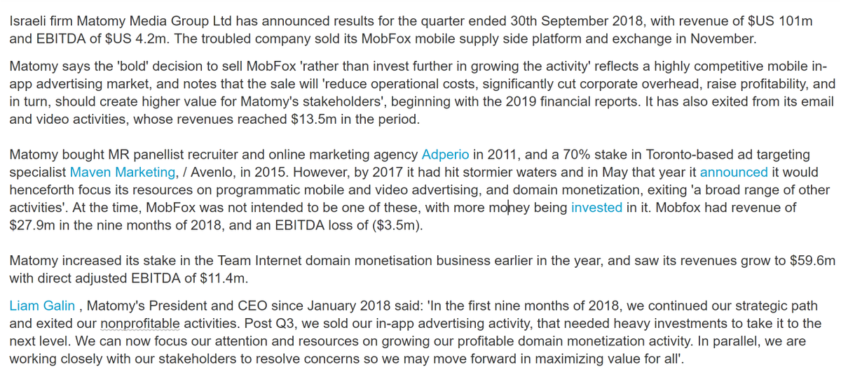 #MTMY #Matomy increased its stake in the Team Internet domain monetisation business earlier in the year, and saw its revenues grow to $59.6m with direct adjusted EBITDA of $11.4m.