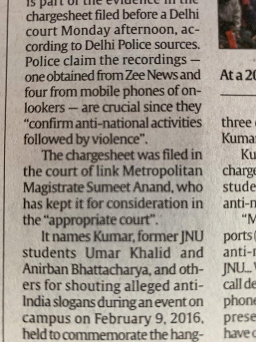 मन मारकर ही सही लेकिन आज के अख़बारों को लिखना पड़ा कि @ZeeNews का जेएनयू विडीओ बिलकुल सही पाया गया और इसमें कोई छेड़छाड नहीं हुई थी।2016 में इन्हीं अख़बारों ने पहले पन्ने पर ख़बर छापी थी कि Zee News का video doctored है।ऐसी त्रुटिपूर्ण रिपोर्टिंग से आप भी सावधान रहिए।