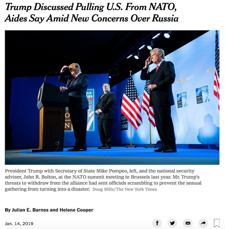 NEW: Trump privately told senior officials he wants to withdraw from NATO altogether, a move that would accomplish all that Putin set out to do and be one of the most damaging things Trump could do to US interests. by @julianbarnes @helenecooper #Maddow https://nyti.ms/2HaZZrK