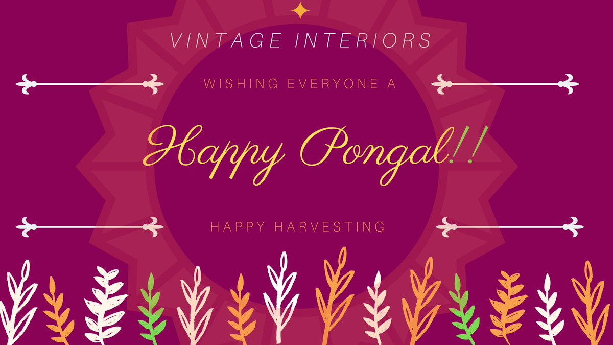 Team Vintage Interiors wishes everyone a prosperous and joyful Pongal. May this auspicious day brings you overflowing happiness, joy and prosperity into your life's.  PongaloPongal!! #Pongal #Pongal2019 #celebration #HappyPongal2019 #பொங்கல்நல்வாழ்த்துக்கள் #தமிழர்திருநாள்