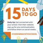 TODAY'S #CEDoWBacktoSchool TIP: Get connected with your school!  ✅Use our #CEDoW School Finder to easily access your school's website - https://t.co/9YUce9xy6k  ✅ Put their no. in your contacts ✅ Sign up for newsletters & any school communication apps like Compass or Skoolbag
