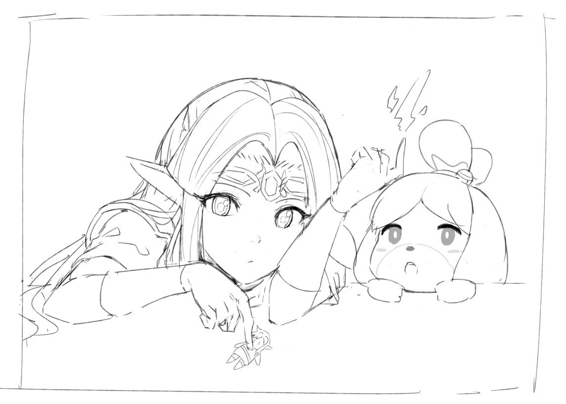 A sketch of Zelda and Isabelle from #SmashBrosUltimate<br>http://pic.twitter.com/EVGXv7To81