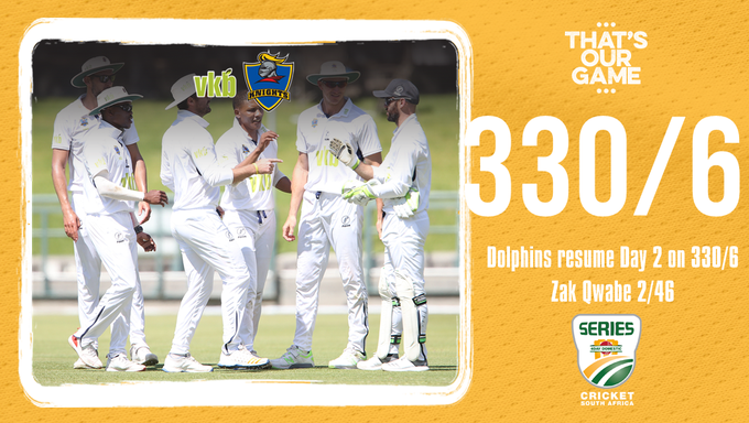 Hollywoodbets @DolphinsCricket resume Day 2 of the #4DaySeries against VKB Knights on 330/6. Tshepo Ntuli, Zakhele Qwabe and Thandolwethu Mnyaka share 6 wickets between them. #DOLvKNI Photo